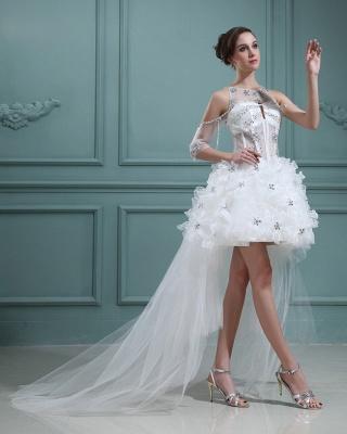 Design Weiß Brautkleider Kurz Orgnazza Tüll Hochzeitskleider Mit Schleppe_4