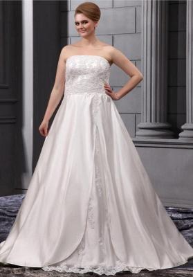 Elegant Wedding Dresses Large Size White A Line Satin Wedding Gowns Plus Size Cheap_1