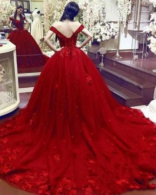 Rote Abendkleider Lang Mit Spitze Tüll Prinzessin Abendmoden Online_2