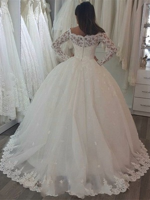 Simple Tulle Long Sleeve Ball Gown Wedding Dresses With Lace_2