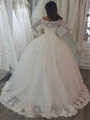 Elegant White Hochzeitskleider Mit Spitze Ärmel Prinzessin Brautkleider Günstig_2