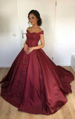 Elegant Evening Dresses Long Red A line Off Shoulder Lace Evening Wear Prom Dresses_1