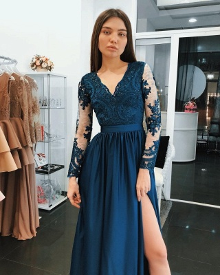 Dark Blue Evening Dresses Long Cheap Lace Evening Wear With Sleeves_3