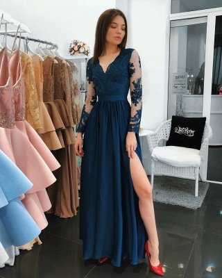 Dark Blue Evening Dresses Long Cheap Lace Evening Wear With Sleeves_4