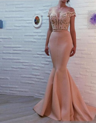 Apricot Evening Dresses Long Cheap Mermaid Schuterfrai Prom Dresses Evening Wear_1