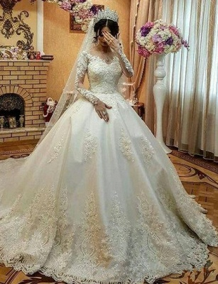 Fashion wedding dresses with lace sleeves | Wedding dress A line_1