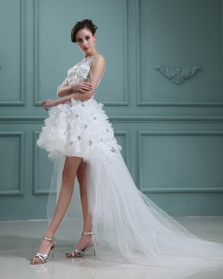 Design white wedding dresses short orgnazza tulle wedding gowns with train_5