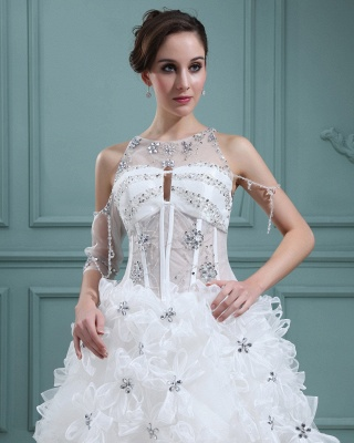 Design white wedding dresses short orgnazza tulle wedding gowns with train_2