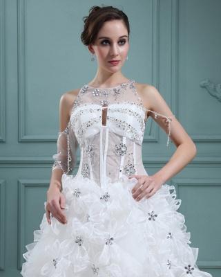 Design Weiß Brautkleider Kurz Orgnazza Tüll Hochzeitskleider Mit Schleppe_2