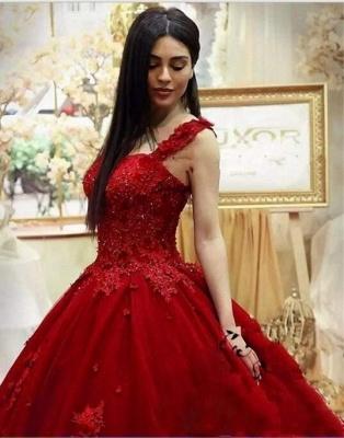 Rote Abendkleider Lang Mit Spitze Tüll Prinzessin Abendmoden Online_4