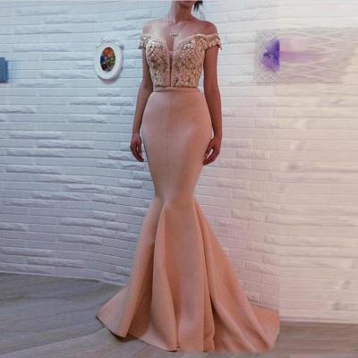 Apricot Evening Dresses Long Cheap Mermaid Schuterfrai Prom Dresses Evening Wear_2