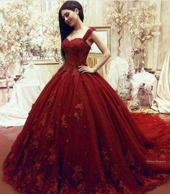 Red Evening Dresses Long With Lace Tulle Princess Evening Wear Online_1