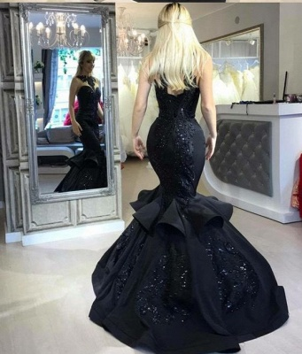 Elegant evening dresses long black mermaid prom dresses with lace cheap_3