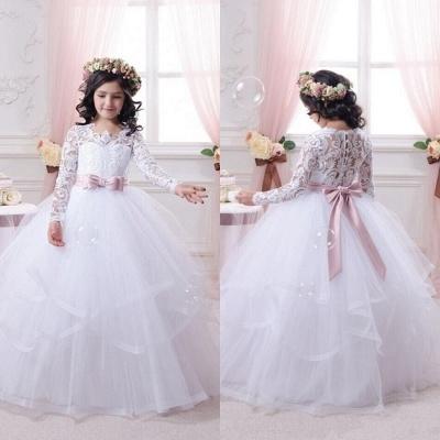 White flower girl dresses long sleeves princess dresses for flower children_2