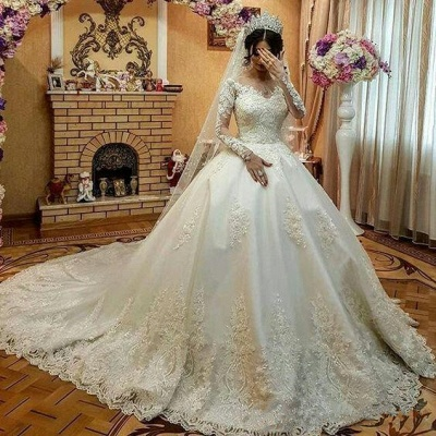 Fashion wedding dresses with lace sleeves | Wedding dress A line_2
