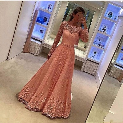 Pink Evening Dresses Lace Long Sleeves A Line Floor-Length Evening Wear Prom Dresses Cheap_2