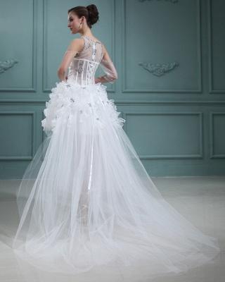 Design Weiß Brautkleider Kurz Orgnazza Tüll Hochzeitskleider Mit Schleppe_3