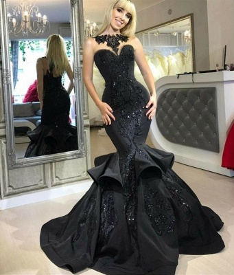 Elegant evening dresses long black mermaid prom dresses with lace cheap_2