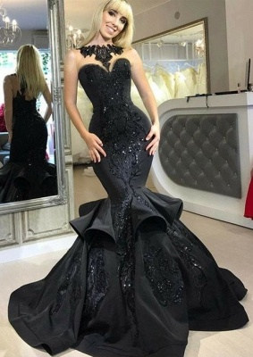 Elegant evening dresses long black mermaid prom dresses with lace cheap_1