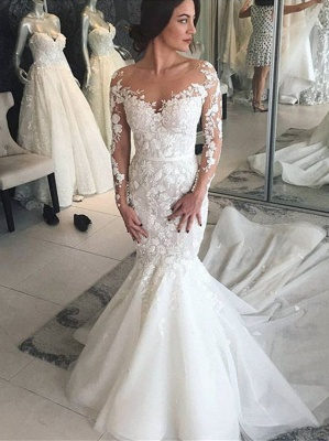 Modern Brautkleider mit Spitzenärmel | Hochzeitskleid Meerjungfrau Online_3