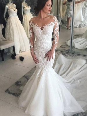 Modern Brautkleider mit Spitzenärmel | Hochzeitskleid Meerjungfrau Online_1