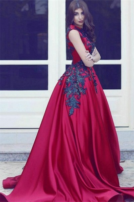 Red Evening Dresses Long With Lace A Line Satin Evening Wear Prom Dresses_1