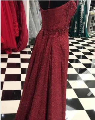Elegant Evening Dresses Wine Red With Lace Evening Wear Prom Dresses Online_3