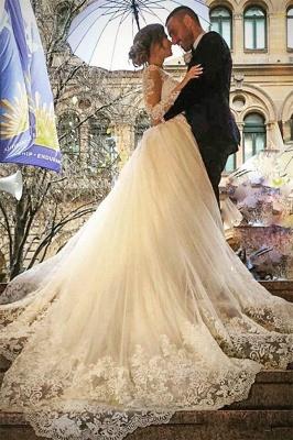 Weiße Brautkleider Mit Lang Ärmel Herzförmig Spitze Brautmoden Hochzeitskleider Online_1