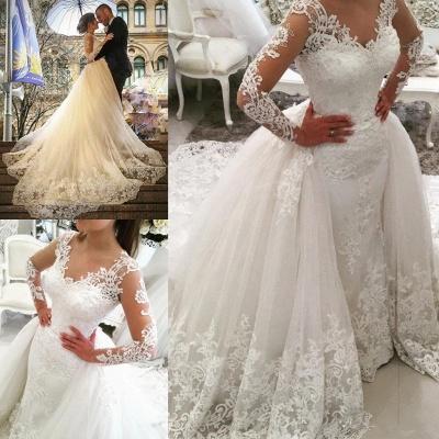 Weiße Brautkleider Mit Lang Ärmel Herzförmig Spitze Brautmoden Hochzeitskleider Online_4