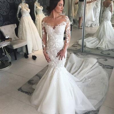 Modern Brautkleider mit Spitzenärmel | Hochzeitskleid Meerjungfrau Online_2