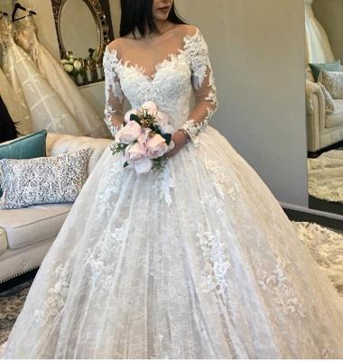 Günstig Hochzeitskleider Prinzessin Weiße Spitze Brautkleider Online_1