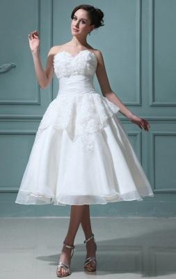 Kurz Brautkleider Creme Mit Spitze A Linie Knielang Brautmoden Hochzeitskleider_1
