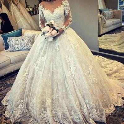 Günstig Hochzeitskleider Prinzessin Weiße Spitze Brautkleider Online_2