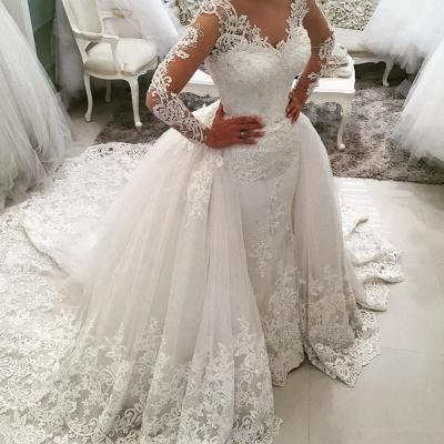 Weiße Brautkleider Mit Lang Ärmel Herzförmig Spitze Brautmoden Hochzeitskleider Online_3