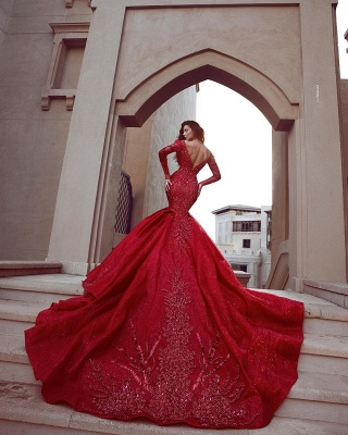 Fashion Red Evening Dresses Long Cheap | Evening dress with sleeves_3