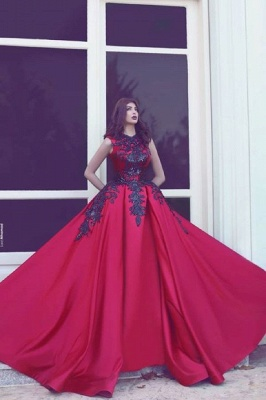 Red Evening Dresses Long With Lace A Line Satin Evening Wear Prom Dresses_2