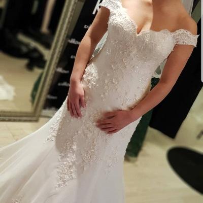 Elegante Brautkleider Meerjungfrau | Weiße Spitze Hochzeitskleider Online_4