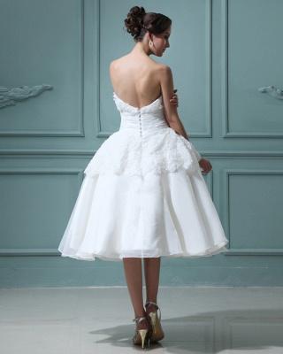 Kurz Brautkleider Creme Mit Spitze A Linie Knielang Brautmoden Hochzeitskleider_3