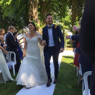 Elegante Brautkleider Meerjungfrau | Weiße Spitze Hochzeitskleider Online_2
