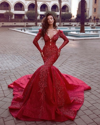 Fashion Red Evening Dresses Long Cheap | Evening dress with sleeves_1