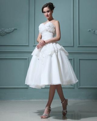Kurz Brautkleider Creme Mit Spitze A Linie Knielang Brautmoden Hochzeitskleider_5