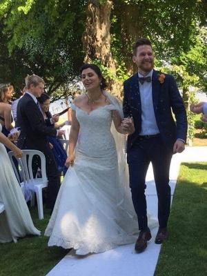 Elegante Brautkleider Meerjungfrau | Weiße Spitze Hochzeitskleider Online_1