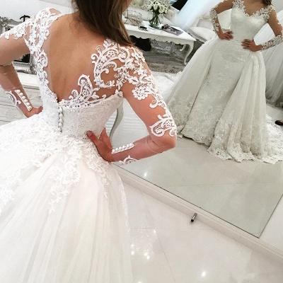 Weiße Brautkleider Mit Lang Ärmel Herzförmig Spitze Brautmoden Hochzeitskleider Online_2