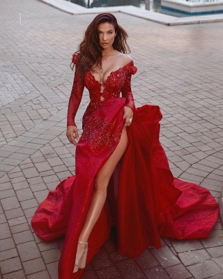 Fashion Red Evening Dresses Long Cheap | Evening dress with sleeves_2