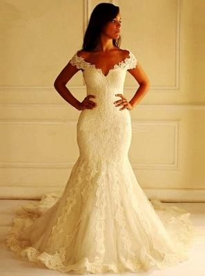 Modern Weiß Brautkleider Spitze Schulterfrei Meerjungfrau Brautmoden Hochzeitskleider Günstig_1