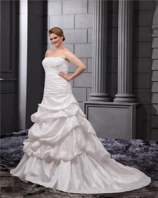 Plus Size Wedding Dresses For Fat Women White Wedding Gowns Large Size_5