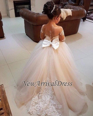 Cheap Flower Girl Dresses With Sleeves Lace A Line Tulle Dresses For Flower Girl Wedding Gowns_1