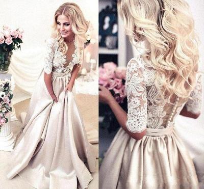 Modern Brautkleider Mit Ärmel Spitze Hochzeitskleid A Linie_3