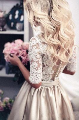 Modern Brautkleider Mit Ärmel Spitze Hochzeitskleid A Linie_4