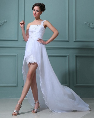 White wedding dresses short long with lace one shoulder sheath dress wedding dresses with train_1
